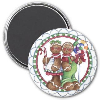 Gingerbread Couple Lollipop Candy Cane Magnet