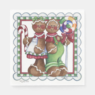 Gingerbread Couple Lollipop Candy Cane Napkin Paper Napkin