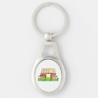 Gingerbread Couple Metal Keyring Silver-Colored Oval Keychain
