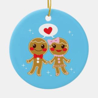 Gingerbread Couple Round Ceramic Ornament