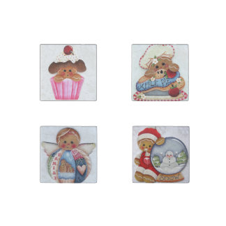 Gingerbread Cuties Kitchen Magnets Set of 4 Stone Magnets