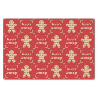 Gingerbread Cutout Seasons Greetings Tissue Paper