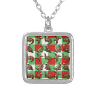 Gingerbread Dinos Silver Plated Necklace