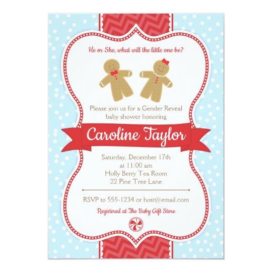 Gingerbread Gender Reveal Baby Shower Invitation