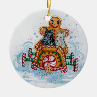 Gingerbread Gentlemen Scotties Ceramic Ornament