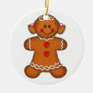GINGERBREAD GIRL by SHARON SHARPE Round Ceramic Ornament