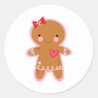 Gingerbread Girl Classic Round Sticker