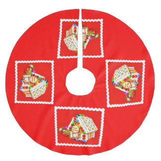 Gingerbread house brushed polyester tree skirt