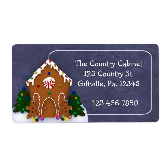 Gingerbread House Business Label