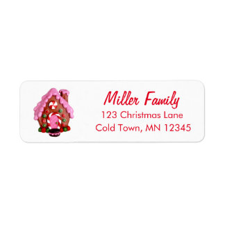 Gingerbread House Candy Cane Stripes Christmas Return Address Label