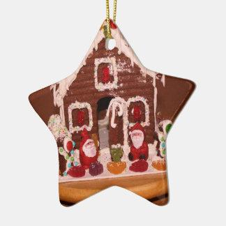 Gingerbread House Christmas Decoration Ceramic Star Ornament
