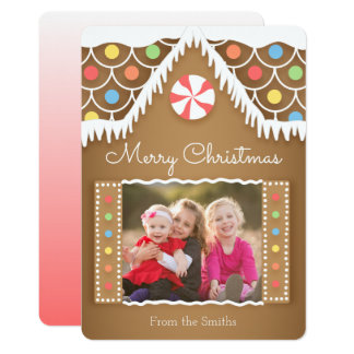 Gingerbread House Christmas Photo Card