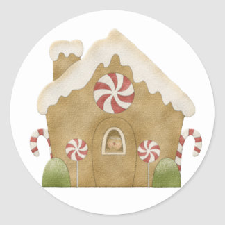 Gingerbread house classic round sticker