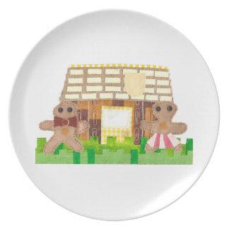 Gingerbread House Couple Melamine Plate