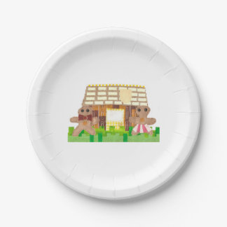 Gingerbread House Couple Paper Plate 7 Inch Paper Plate