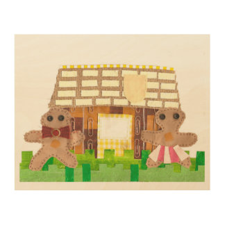 Gingerbread House Couple Wooden Poster