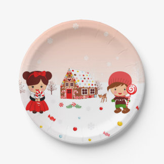 Gingerbread House Decorating party plates 7 Inch Paper Plate