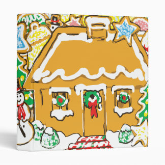 Gingerbread House Frosted Cookies Christmas Scene Vinyl Binders
