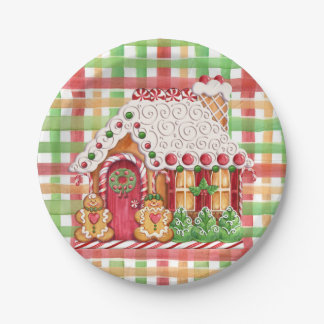 Gingerbread House Gingerbread Family Paper Plate