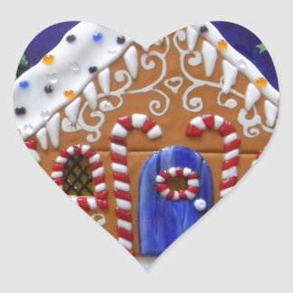 Gingerbread House Heart Sticker