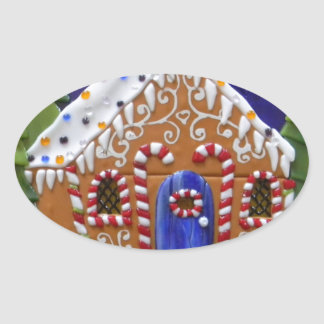 Gingerbread House Oval Sticker
