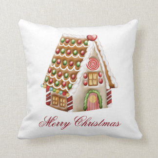 Gingerbread House Personalize Throw Pillow