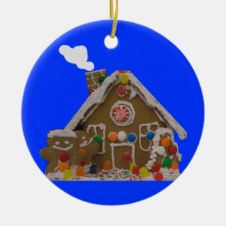 Gingerbread House Photo Round Ceramic Ornament