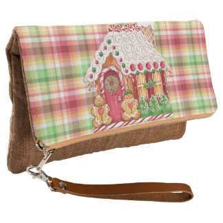 Gingerbread House Plaid Foldover Clutch Purse
