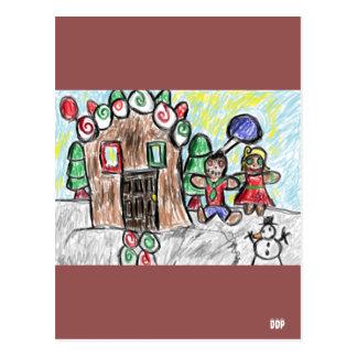 gingerbread house postcard