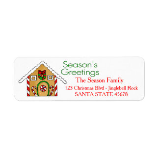 Gingerbread house  Season's Greetings Return Address Label