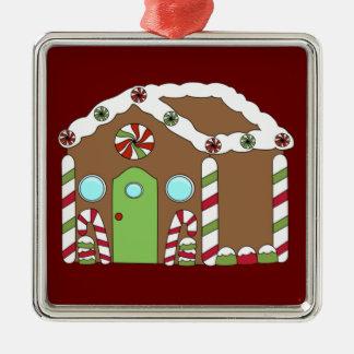 Gingerbread House Silver-Colored Square Ornament