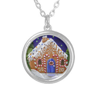 Gingerbread House Silver Plated Necklace