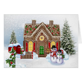 Gingerbread House with Snowmen Card