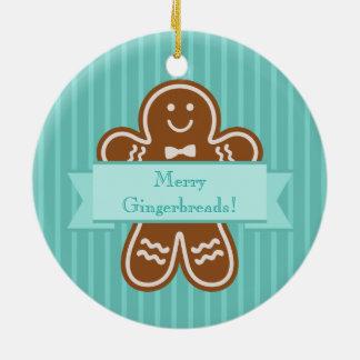 Gingerbread Hugs Round Ceramic Ornament