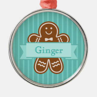 Gingerbread Hugs Silver-Colored Round Ornament