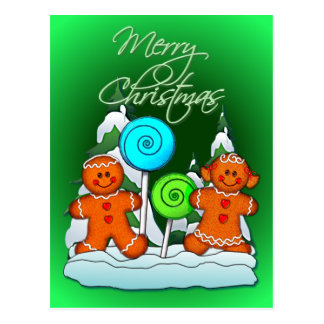 GINGERBREAD KIDS AND LOLLIPOPS by SHARON SHARPE Postcard