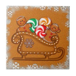 GINGERBREAD KIDS SLEIGH & COOKIES by SHARON SHARPE Tile
