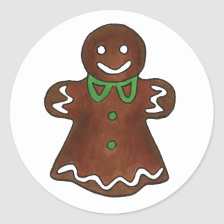 Gingerbread Lady Cookie Round Stickers