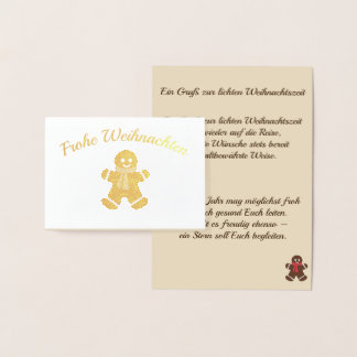 Gingerbread male - a greeting to the light foil card
