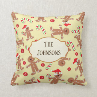 Gingerbread Man and Candy Canes Christmas Throw Pillow