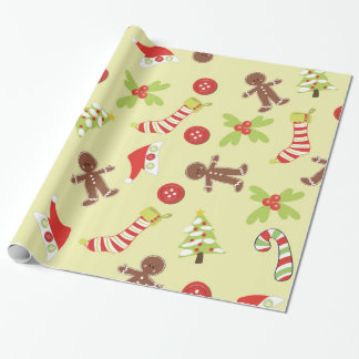 Gingerbread Man and Christmas Stockings Wrapping Paper
