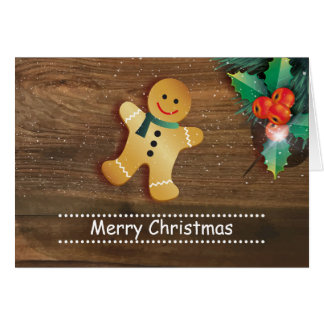 Gingerbread man and holly on wood Christmas Card