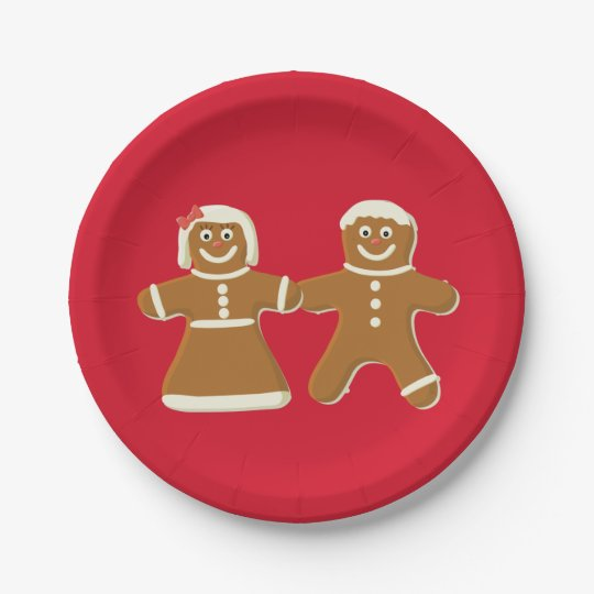 Gingerbread Man and Woman on Red 7 Inch Paper Plate