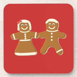 Gingerbread Man and Woman on Red Coaster
