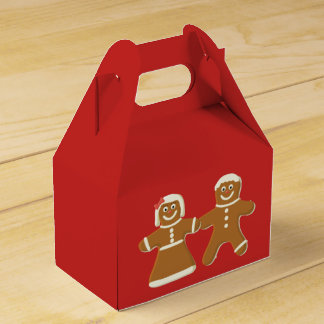 Gingerbread Man and Woman on Red Favor Box