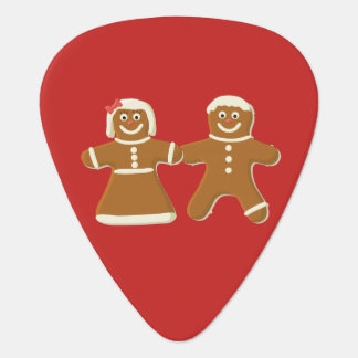 Gingerbread Man and Woman on Red Guitar Pick