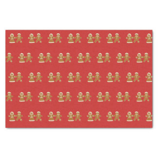 Gingerbread Man and Woman on Red Pattern Tissue Paper