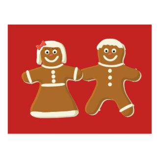 Gingerbread Man and Woman on Red Postcard