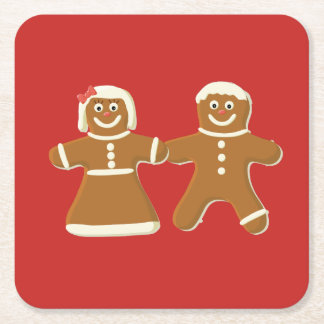 Gingerbread Man and Woman on Red Square Paper Coaster