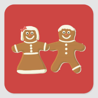 Gingerbread Man and Woman on Red Square Sticker